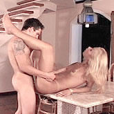 Blonde Tranny Stair Shagging